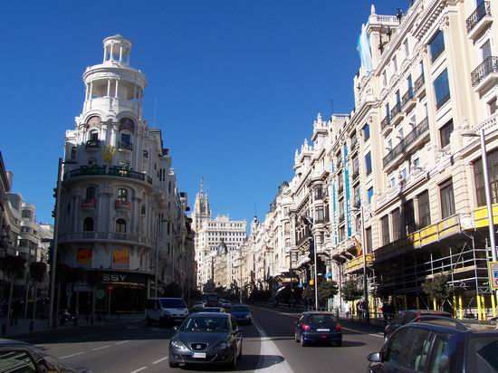 The Gran Via, viewed from Alcala and showing the Metropolis building